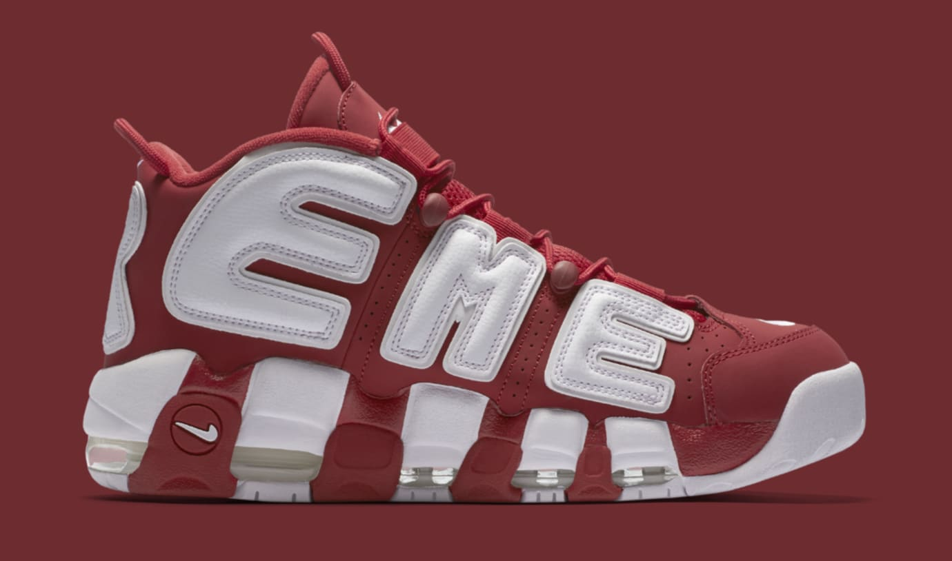 Red Supreme Nike Air More Uptempo 902290-600 Medial