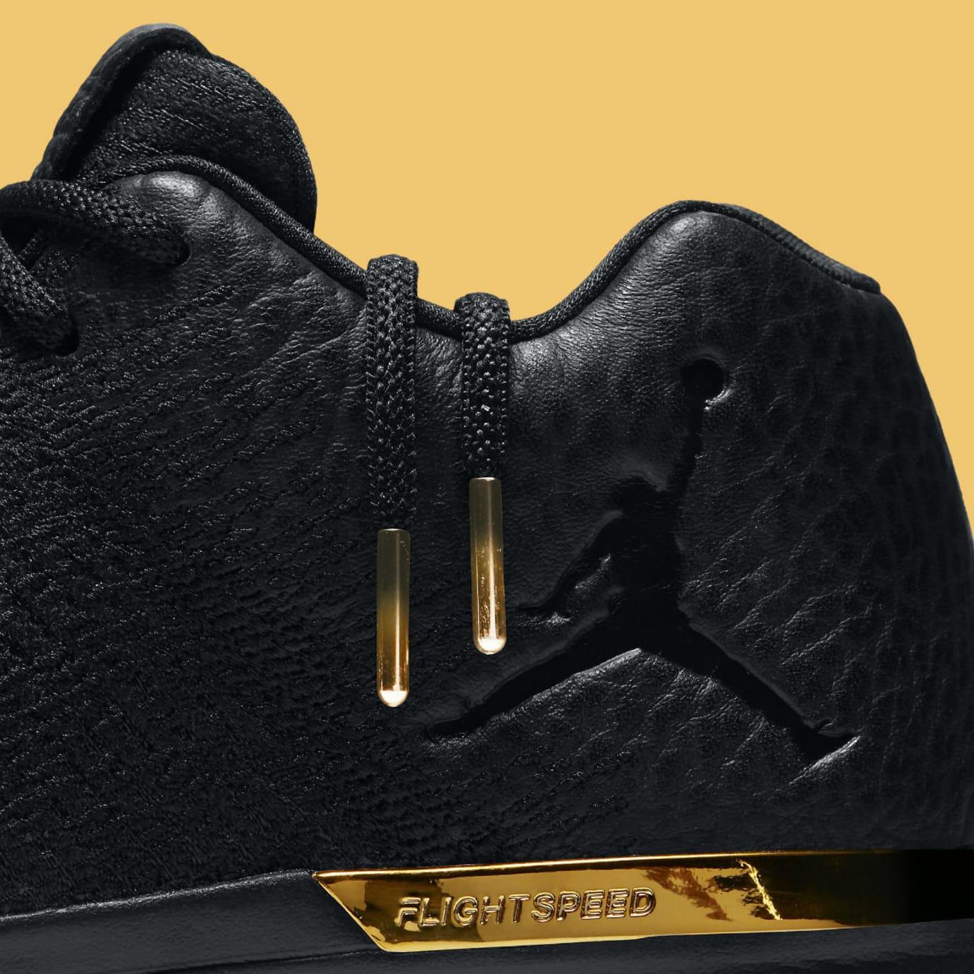 Air Jordan 31 Low Black/Gold Release Date Laces 897564-023