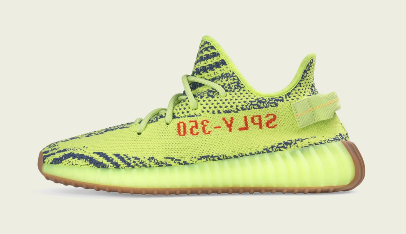 Semi Frozen Yellow Adidas Yeezy Boost 350 V2 Medial