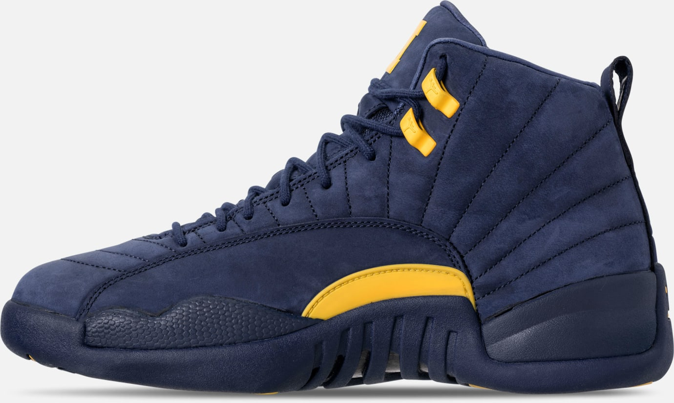 new styles 47bbb 701e5 Image via Finish Line Air Jordan 12 XII Michigan Release Date BQ3180-407  Medial