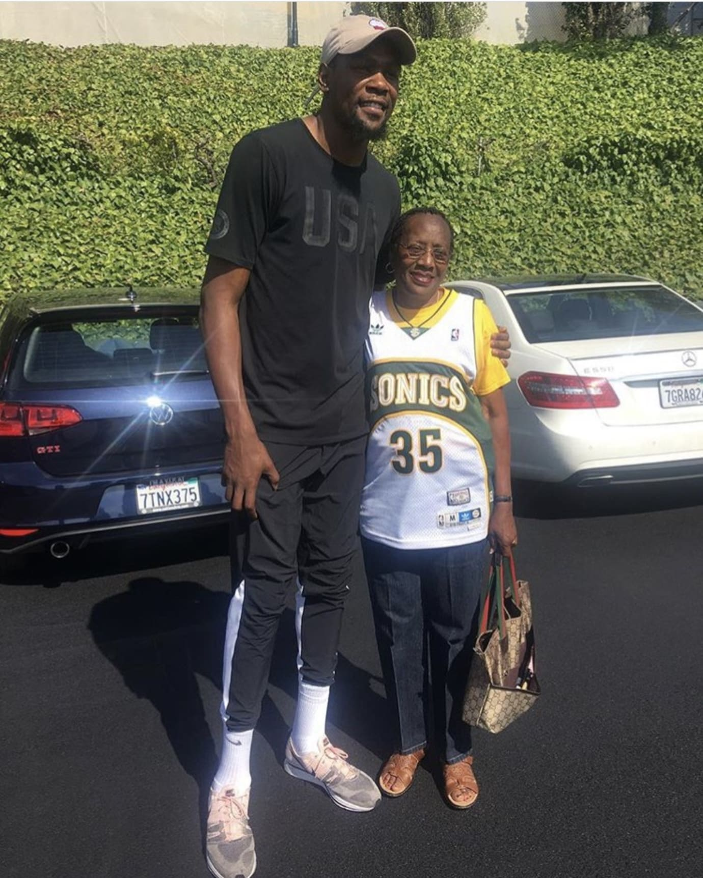 Kevin Durant wearing Nike Flyknit Trainer