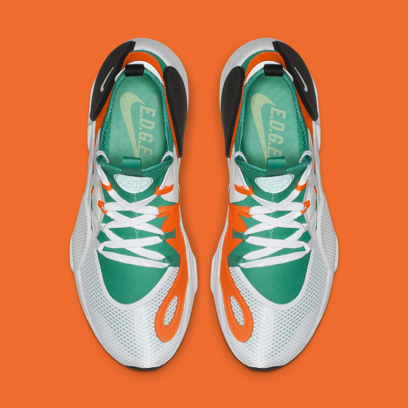 Nike Huarache E.D.G.E. TXT QS 'White/Clear Emerald/Total Orange' BQ5206-100 (Top)