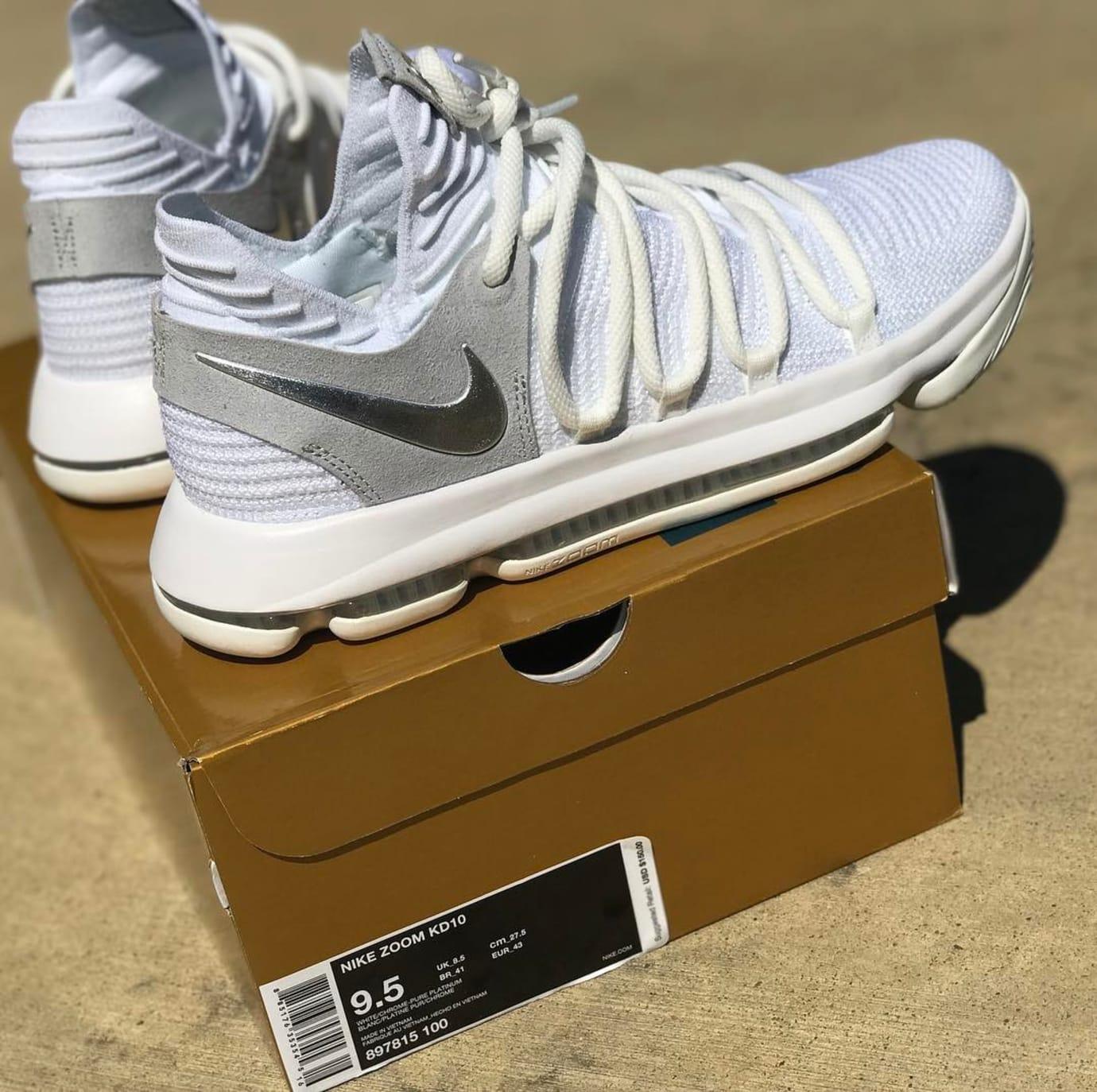 18cf863977b39 Nike KD 10 White Chrome Release Date Box 897815-100