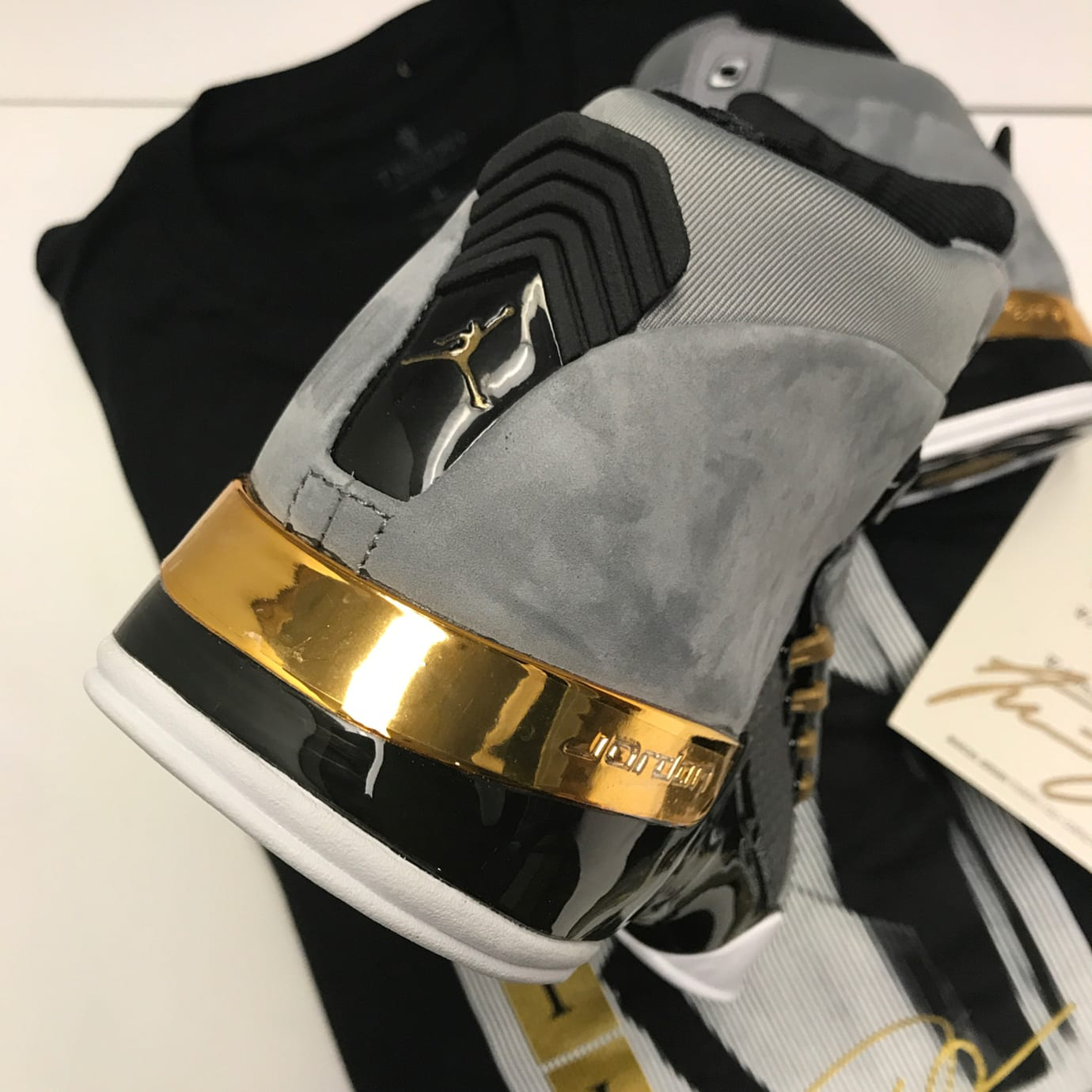 Trophy Room x Air Jordan 17 Cool Grey Release Date AH7963-023 Heel cbb0ce28fadf