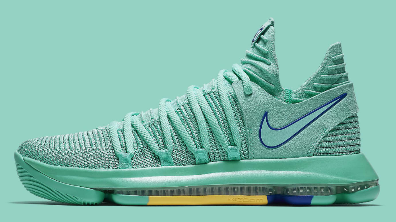 Nike KD 10 X City Edition Hyper Turquoise Racer Blue Release Date 897816-300 Profile