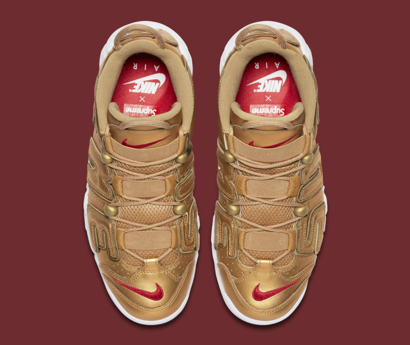 Gold Supreme Nike Air More Uptempo 902290-700 Top