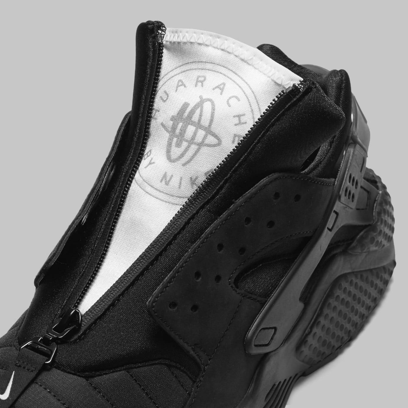 Nike Air Huarache Run NYC Triple Black Release Date AJ5578-001 Tongue b6148ca26