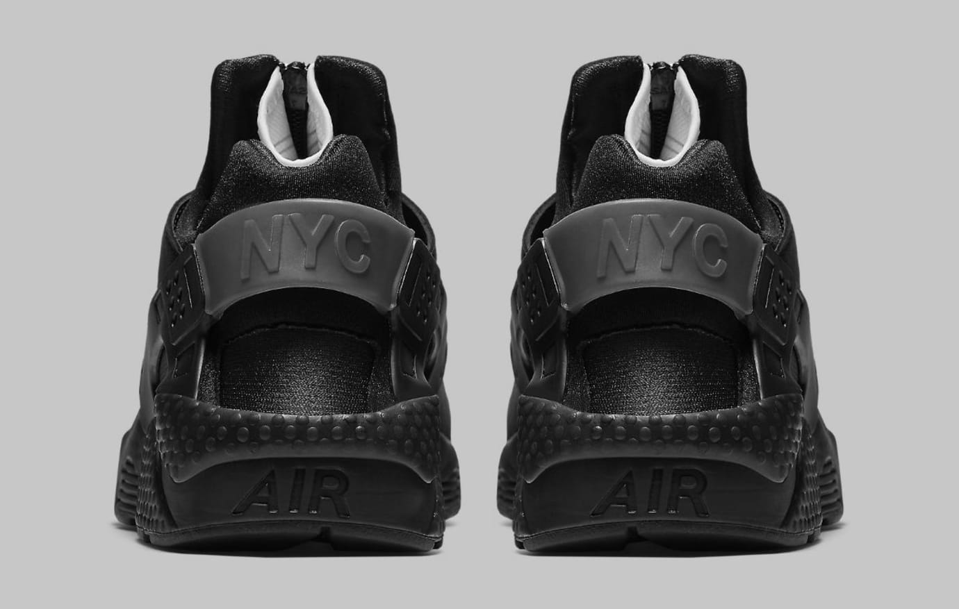 510033ad69786 Nike Air Huarache Run NYC Triple Black Release Date AJ5578-001 Heel