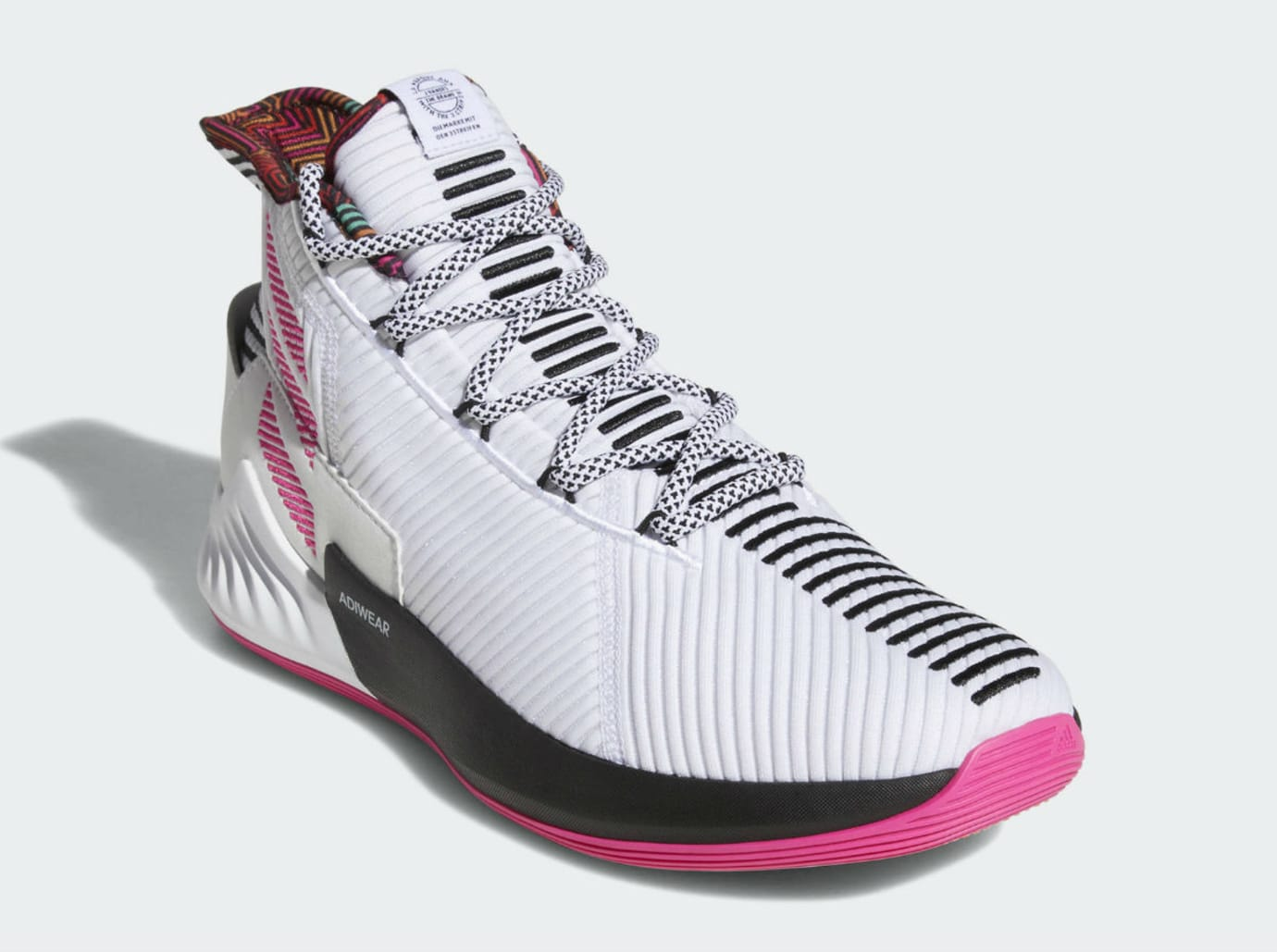 0bc2a6b93b7 Image via Adidas Adidas D Rose 9 White Black Pink Release Date BB7658 Front
