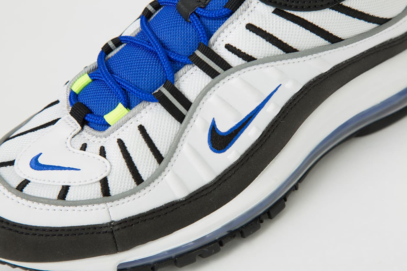 fcf1aa96f54c0c Image via The Lifewares · Nike Air Max 98  White Black Racer Blue Volt   640744-