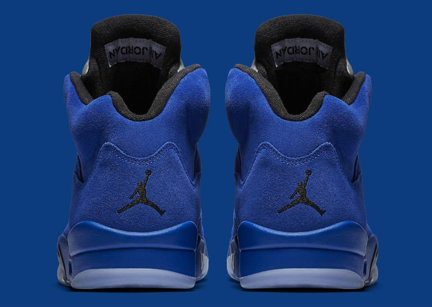 e2954774f00b75 Air Jordan 5 Royal Blue Suede Flight Suit Release Date Heel 136027-401