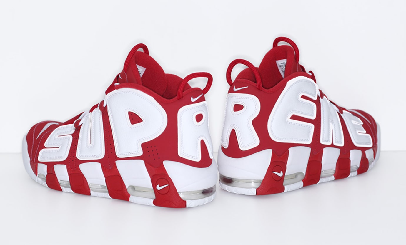 Red Supreme Nike Air More Uptempo Heel