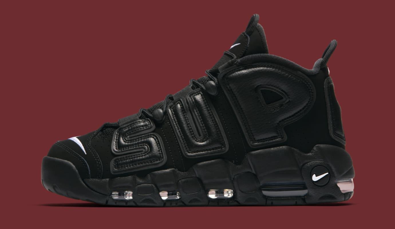 Black Supreme Nike Air More Uptempo 902290-001 Profile