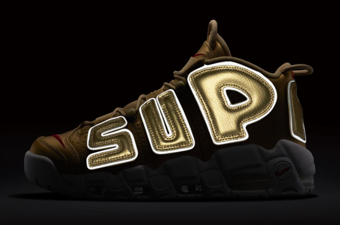 Gold Supreme Nike Air More Uptempo 902290-700 Reflective