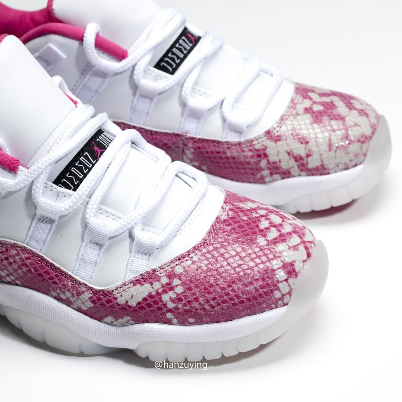 Image via Hanzuying · Air Jordan 11 Retro Low  Pink Snakeskin  AH7860-106  Toe 617657c48