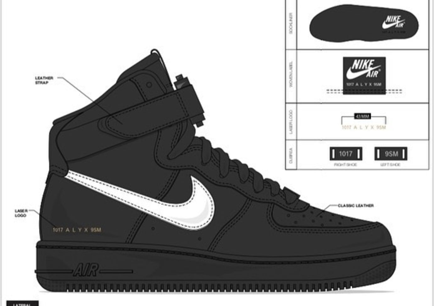 Alyx x Nike Air Force 1 'Black/White'