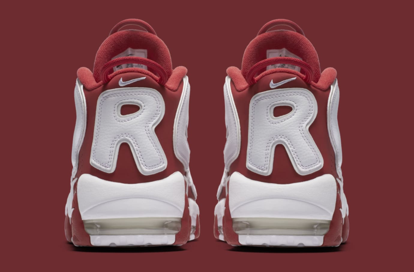 Red Supreme Nike Air More Uptempo 902290-600 Heel