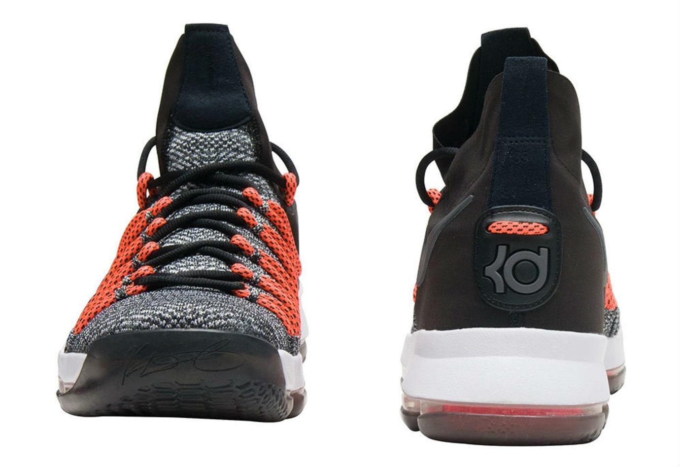 544979229176f Nike KD 9 Elite Black White Dark Grey Hyper Orange Release Date Heel 878637- 010