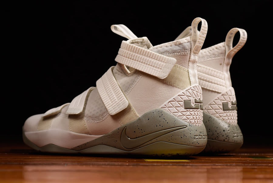 f5abff6698a7 ... Nike LeBron Soldier 11 Light Bone Dark Stucco Release Date Back 897646-005  ...