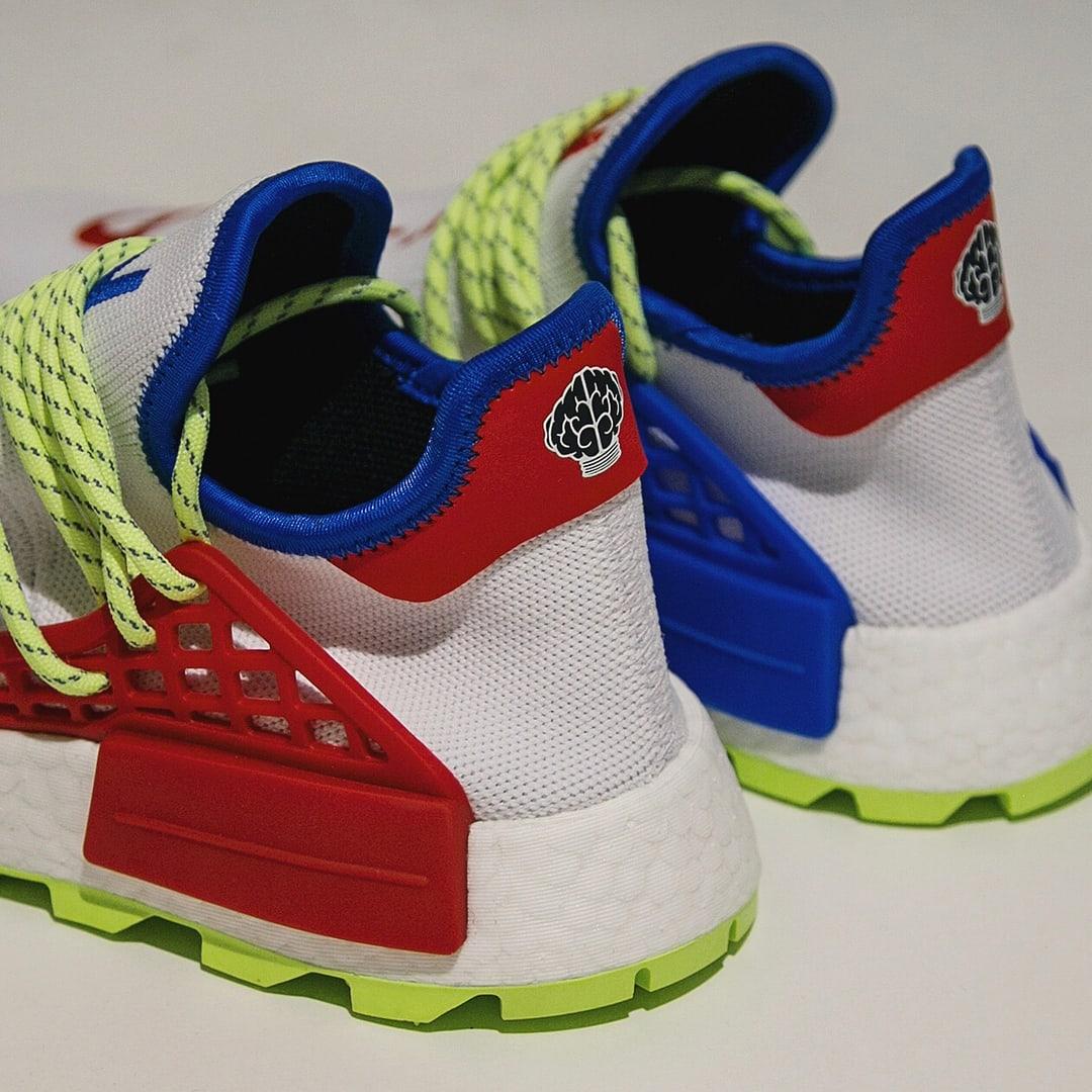 Pharrell x Adidas NMD Hu NERD White Red Blue Release Date Heel