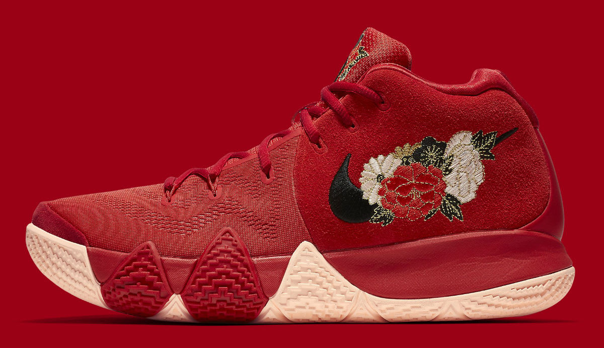 a600ea3f6499 ... Nike Kyrie 4 CNY Release Date 943807-600 Profile  Nike Kyrie 4 EP CNY  IV Chinese New Year Flowers Floral Red Irving ...