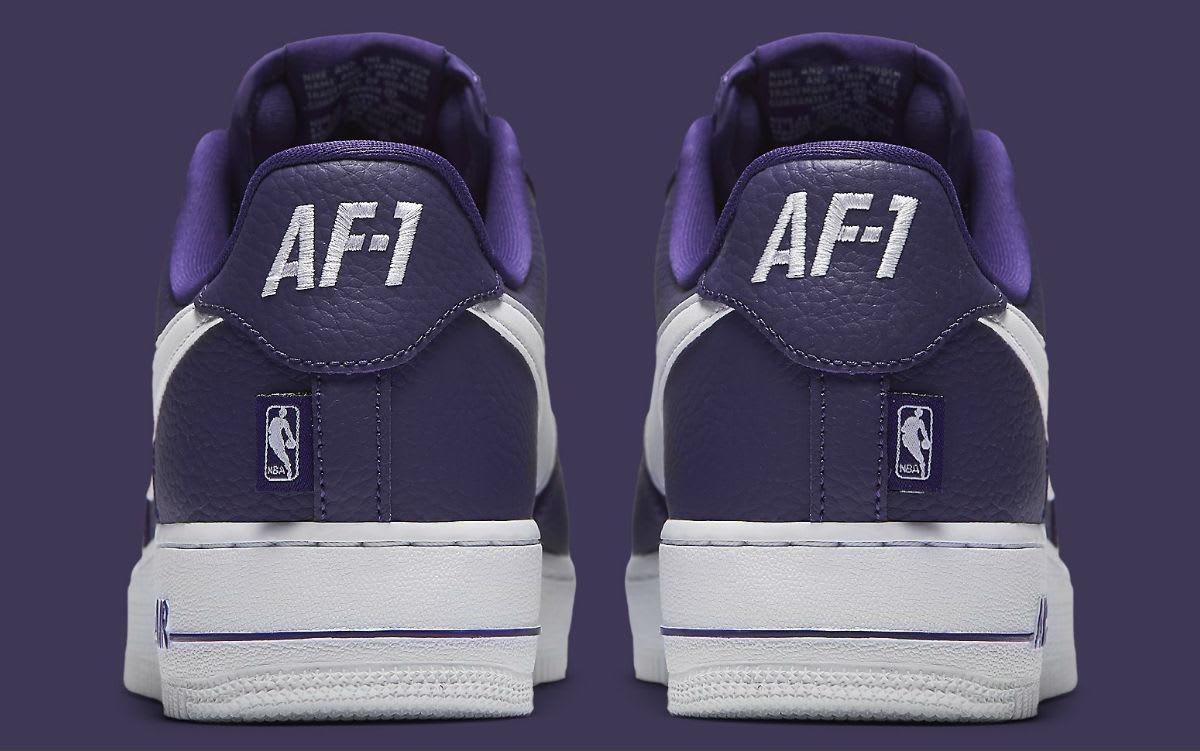 de7b11ed232 ... Beauty Nike Air Force 1 Low NBA Statement Game Purple Release Date Heel  823511-501 ...