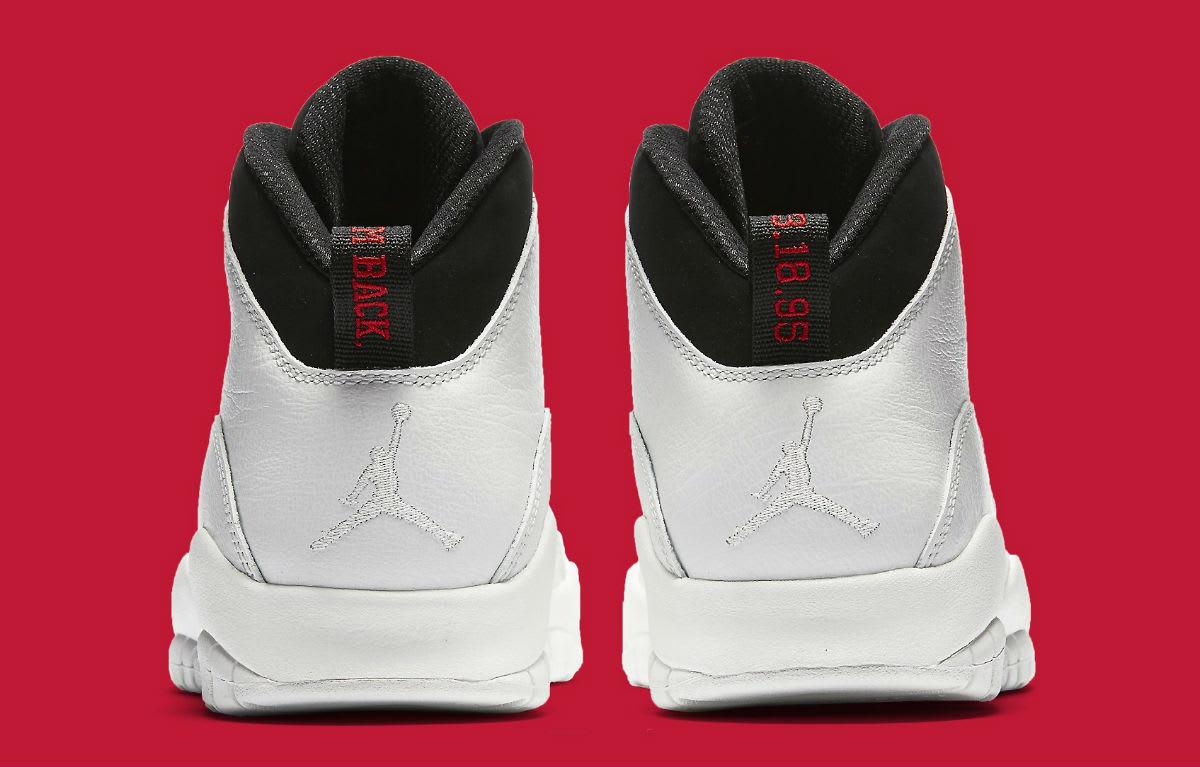 Air Jordan 10 X I'm Back White Black Release date 310805-104 Heel