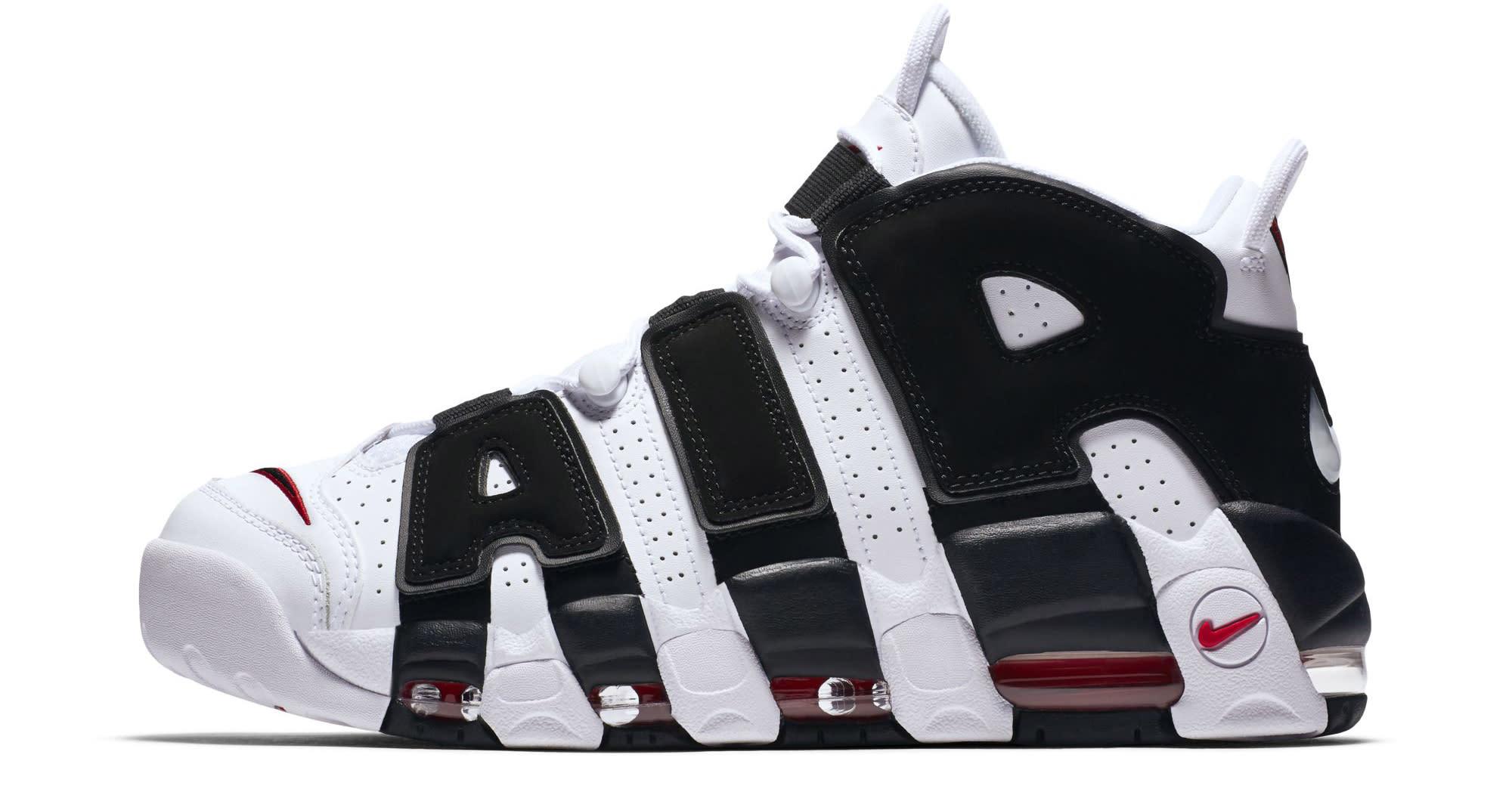 Nike Air More Uptempo White Black Varsity Red Profile