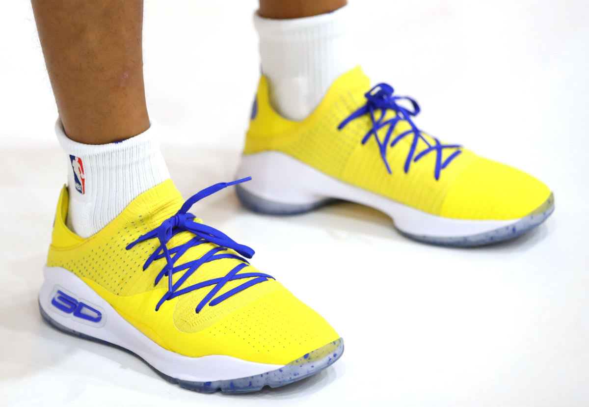 Stephen Curry Under Armour Curry 4 Yellow On-Foot