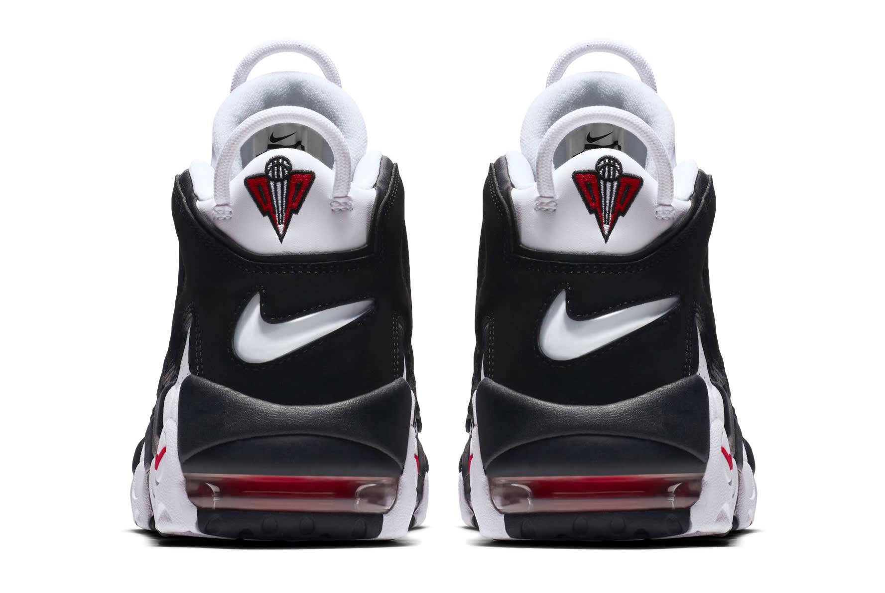 Nike Air More Uptempo White Black Varsity Red Heel