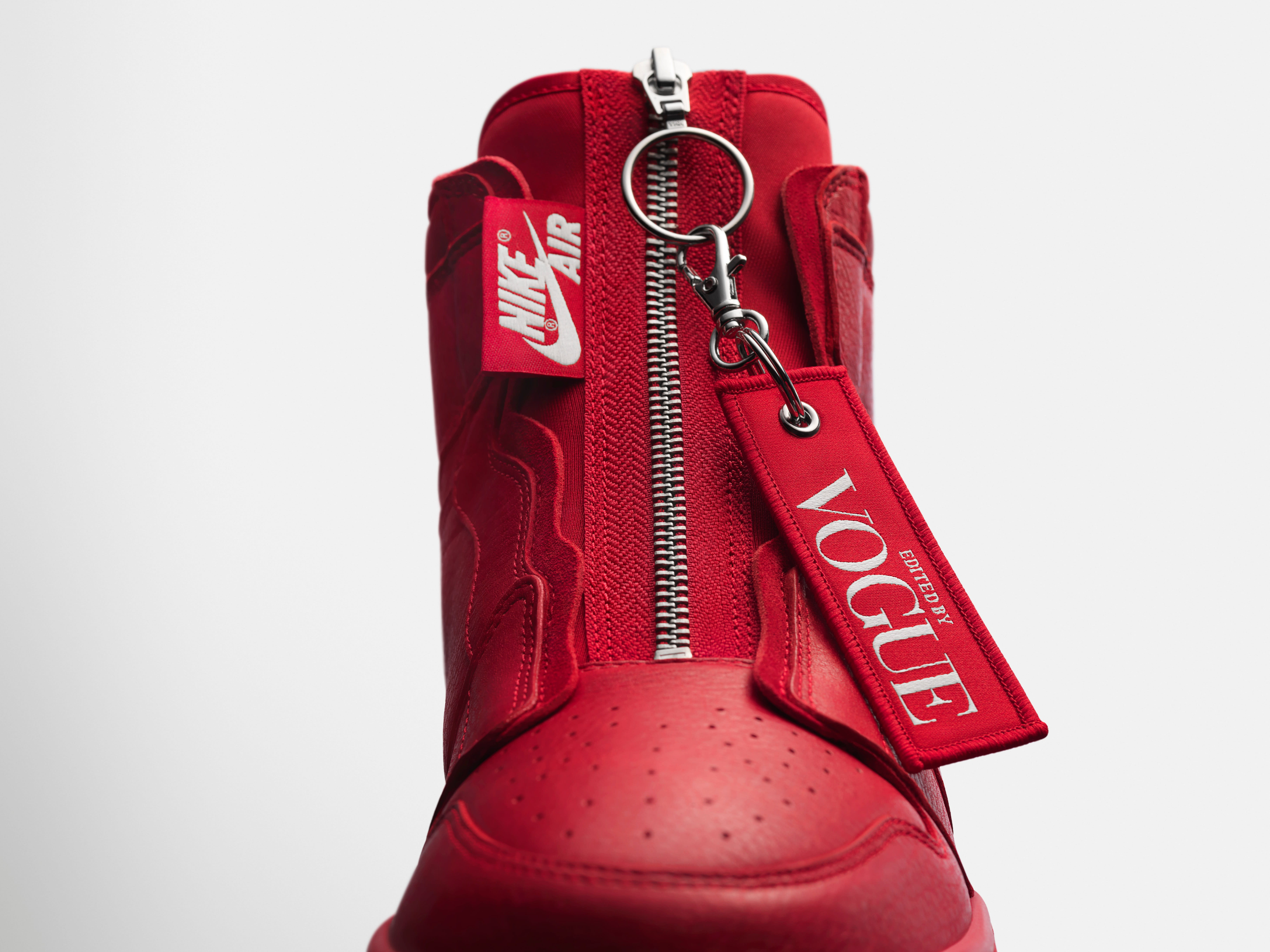 Vogue x Air Jordan 1 Zip AWOK 'University Red' (Tongue)