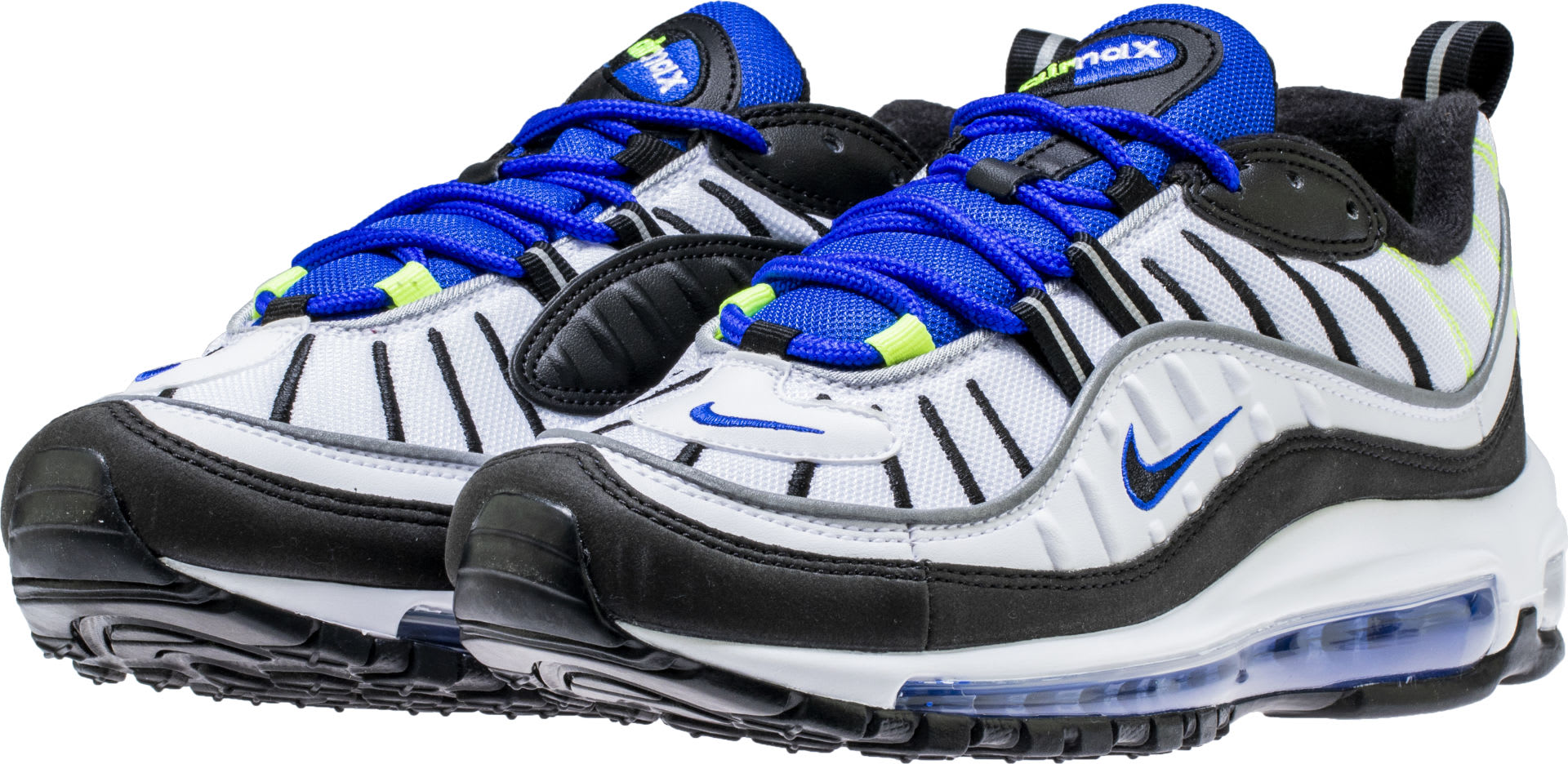 newest collection 1ebcd b8851 Nike Air Max 98 White Black Racer Blue Volt Release Date 640744-103 Front