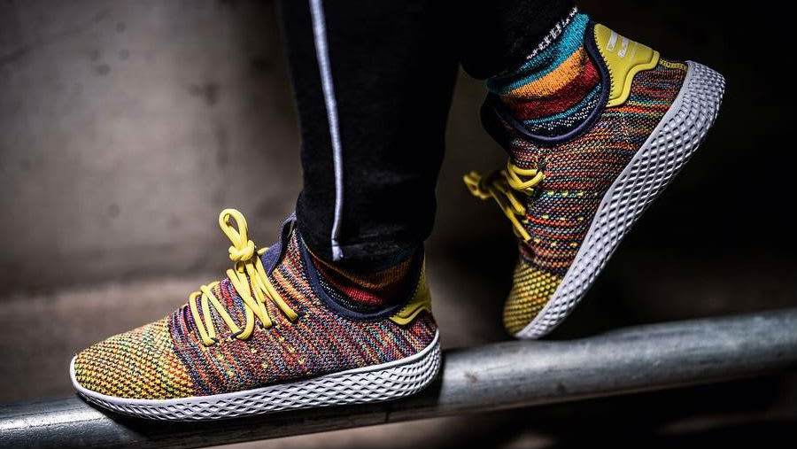 Pharrell x Adidas HU Yellow Multicolor On-Foot Side