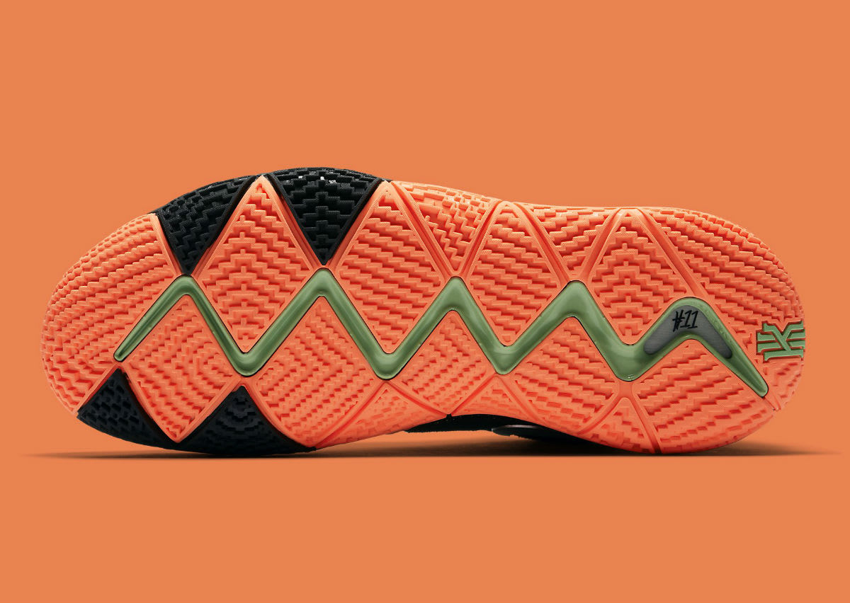 Nike Kyrie 4 Black/Silver-Orange Release Date 943806-010 Sole