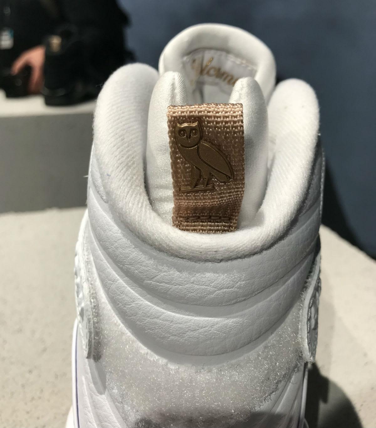 OVO Air Jordan 8 White Release Date AA1239-135 Heel