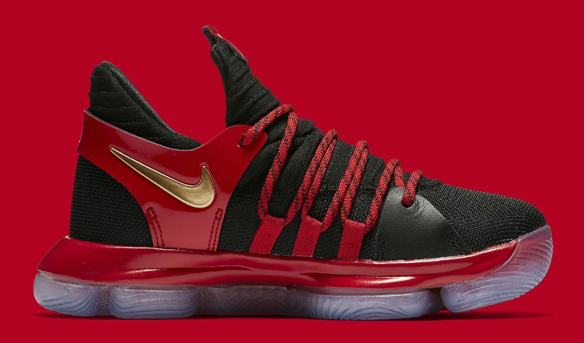Nike KD 10 LE GS Black Metallic Gold University Red Bright ...