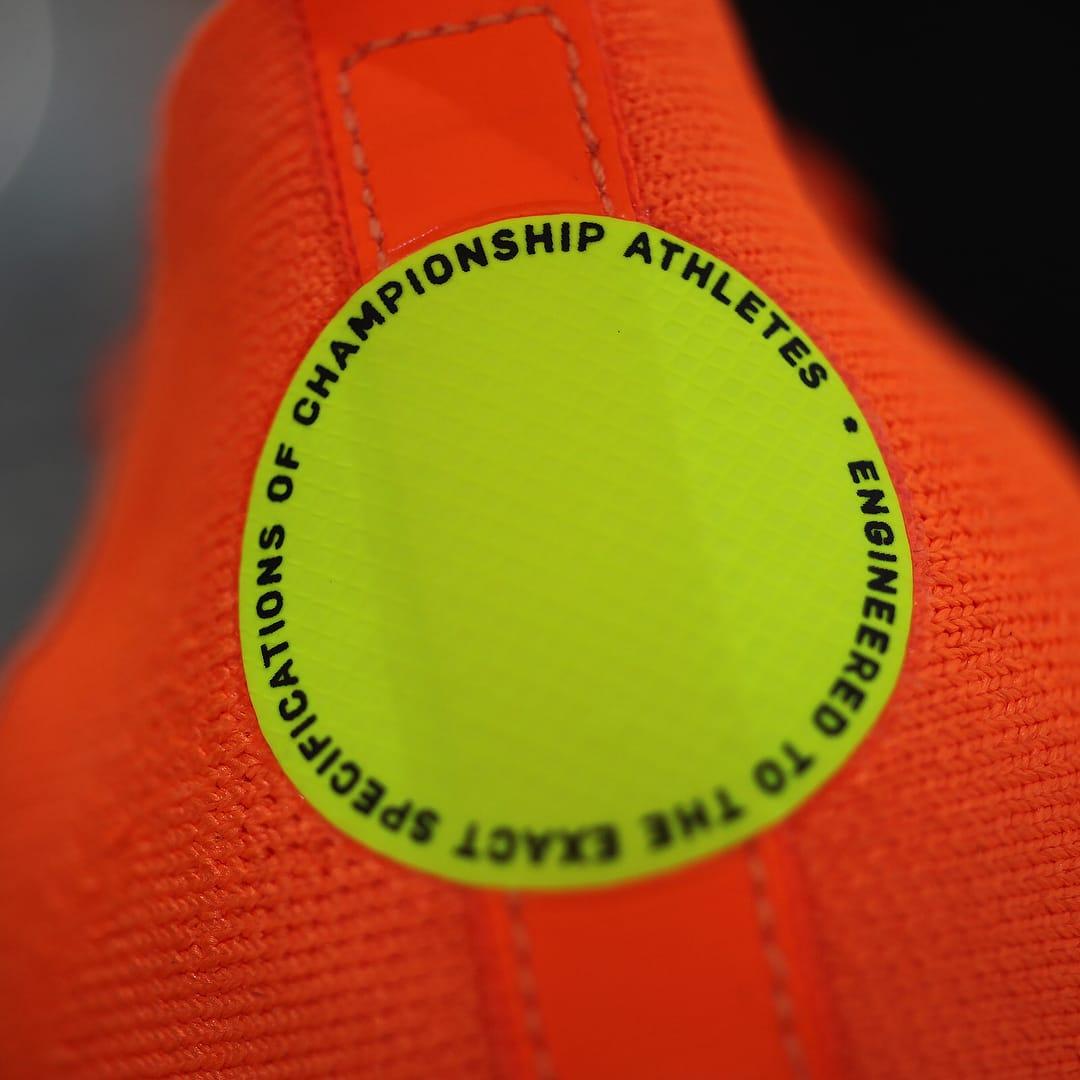 Off-White x Nike Zoom Fly Mercurial Flyknit Total Orange Release Date AO2115-800 Heel Logo