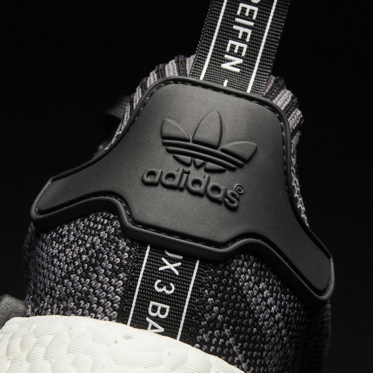 Adidas NMD R1 Primeknit Core Black White Heel CQ1863
