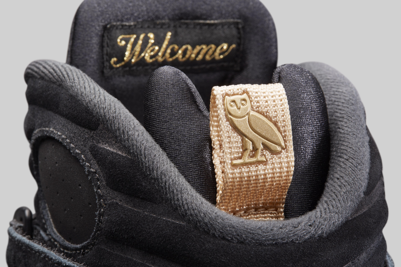 Air Jordan 8 'OVO' Black/Metallic Gold-Varsity Red-Blur AA1239-045 (Heel Tab)