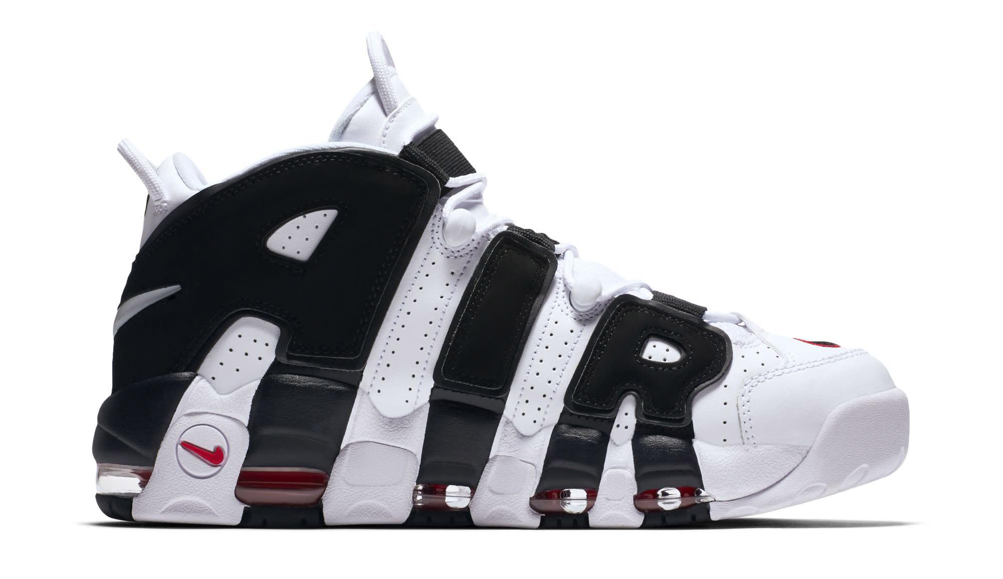 Nike Air More Uptempo White Black Varsity Red Medial