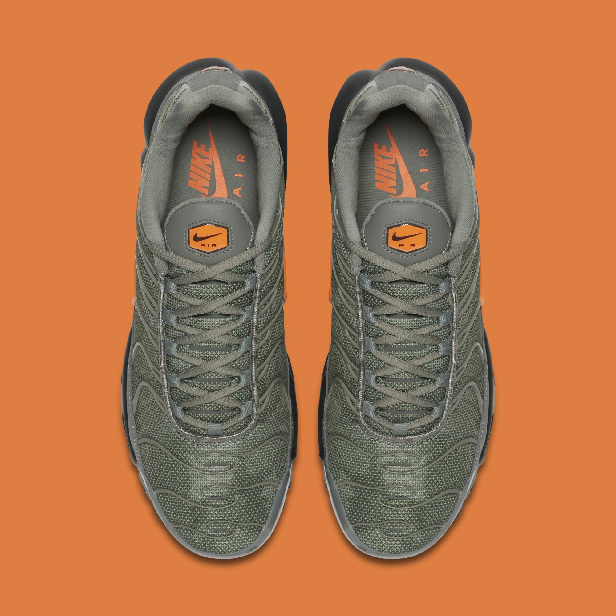 437f4f331c57 Image via Nike Nike Air Max Plus  Dark Stucco Total Orange  AJ2013-003 (Top