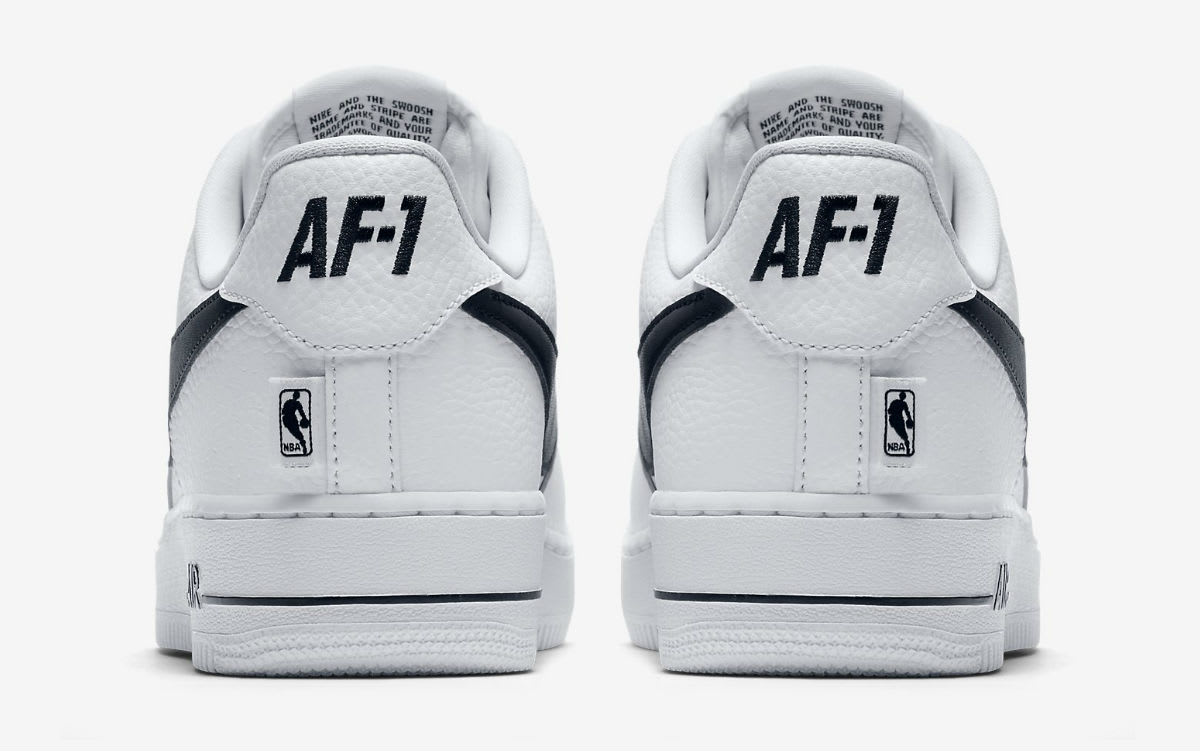 more photos a8d91 76c23 ... latest Nike Air Force 1 Low NBA Statement Game WhiteBlack Release Date  Heel 823511 ...