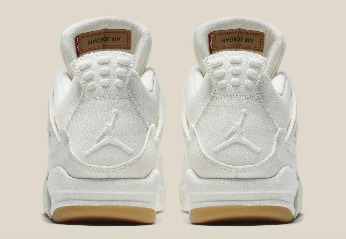 Levi's x Air Jordan 4 White Demin Release Date AO2571-100 Heel