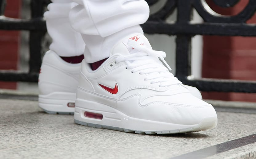 Nike Air Max 1 Jewel White Red On Feet