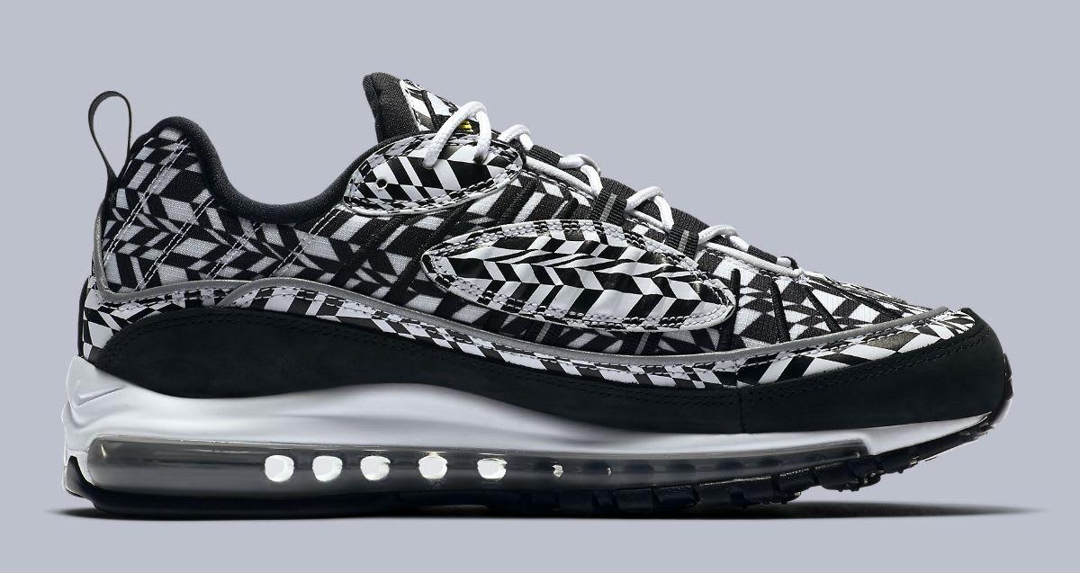 Nike Air Max 98 AOP White Team Orange Black Release Date AQ4130-100 Medial