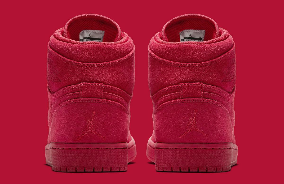 Air Jordan 1 High Red Suede Release Date Heel 332550-603