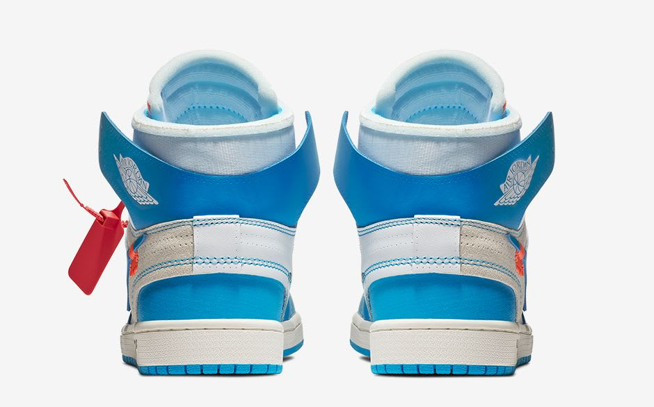 Off-White x Air Jordan 1 UNC Release Date AQ0818-148 Heel