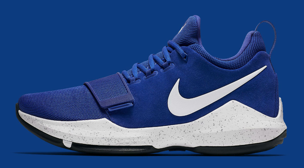 Blue white nike basketball shoes
