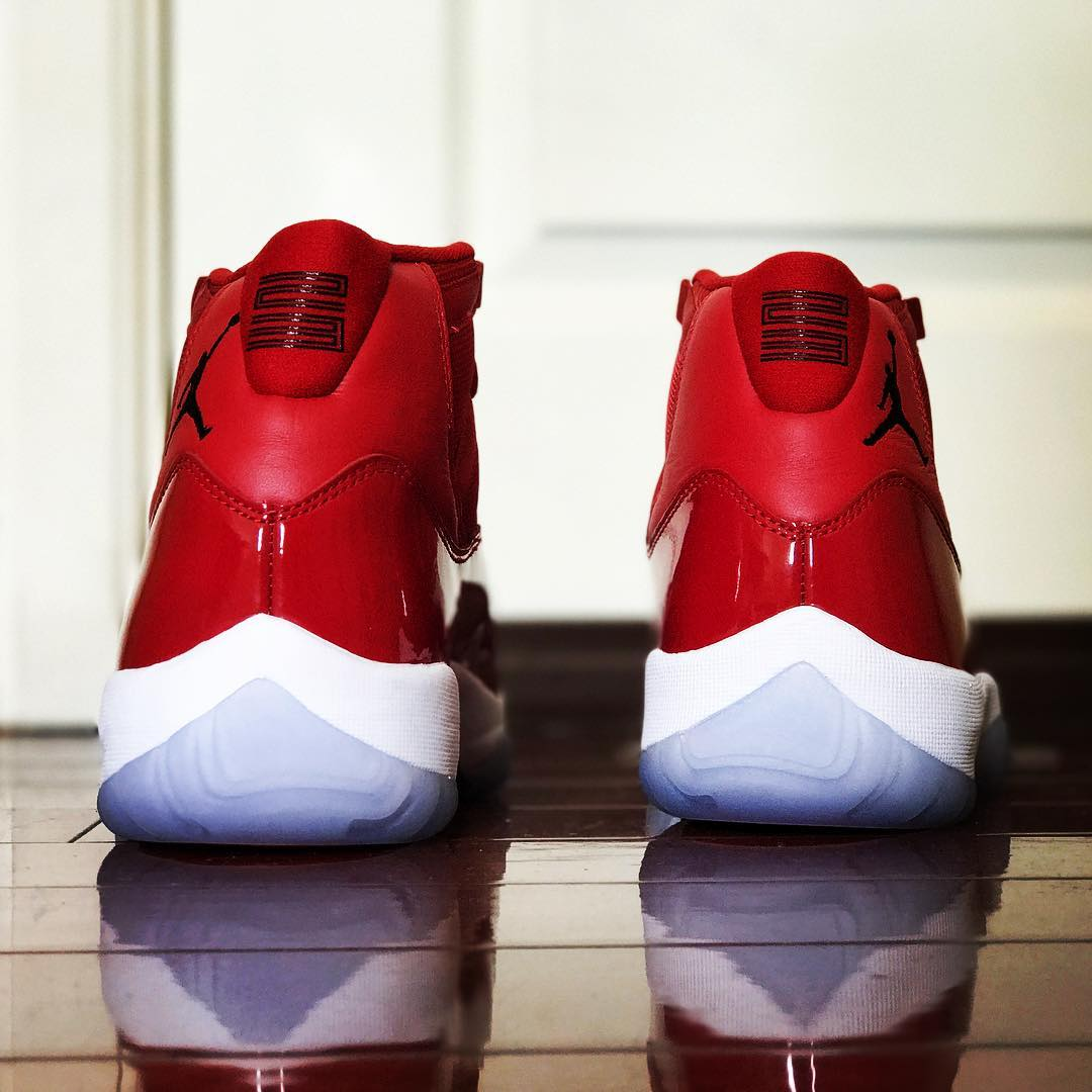 Air Jordan 11 Gym Red Release Date Heel 378037-623