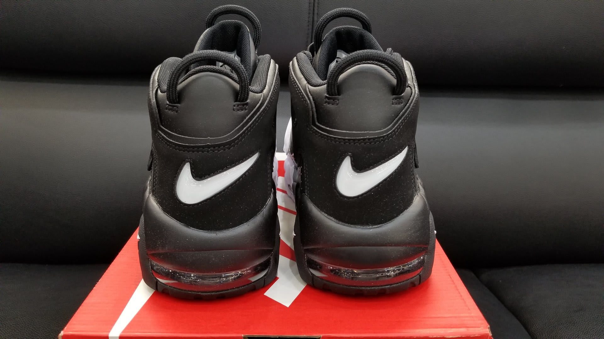 wholesale dealer a1214 5fb44 Nike Air More Uptempo Tri-Color Black Grey White Release Date Heel 921948  002